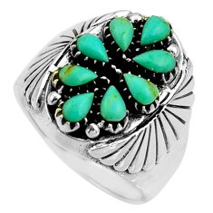 925 sterling silver 3.45cts green arizona mohave turquoise ring size 9.5 c8754