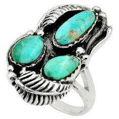 10.13cts green arizona mohave turquoise 925 sterling silver ring size 10.5 c8755