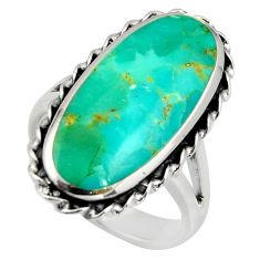 13.55cts green arizona mohave turquoise 925 sterling silver ring size 8.5 c8757