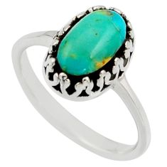 2.81cts green arizona mohave turquoise 925 sterling silver ring size 8 c8759