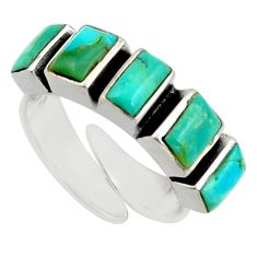 5.38cts green arizona mohave turquoise 925 silver adjustable ring size 6 c8761