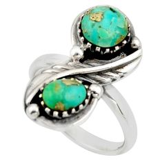 6.20cts green arizona mohave turquoise 925 sterling silver ring size 8 c8762