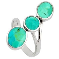 4.68gms green arizona mohave turquoise enamel 925 silver ring size 8 c8763