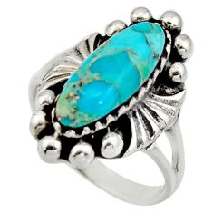 5.62cts green arizona mohave turquoise 925 sterling silver ring size 9 c8766