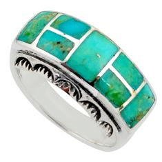 7.87gms green arizona mohave turquoise enamel 925 silver ring size 8 c8767