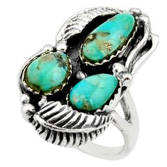 925 sterling silver 11.82cts green arizona mohave turquoise ring size 10.5 c8768