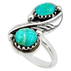 6.02cts green arizona mohave turquoise 925 sterling silver ring size 7 c8769
