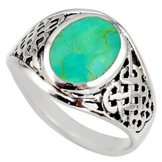 5.89gms green arizona mohave turquoise enamel 925 silver ring size 11.5 c8770