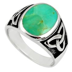 10.02gms green arizona mohave turquoise enamel 925 silver ring size 10.5 c8771