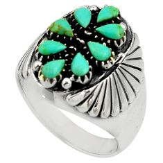 3.39cts green arizona mohave turquoise 925 sterling silver ring size 9.5 c8773