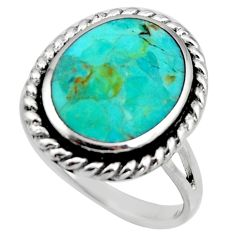 6.26gms green arizona mohave turquoise enamel 925 silver ring size 9 c8774