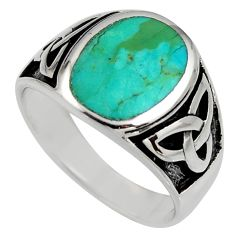 10.02gms green arizona mohave turquoise enamel 925 silver ring size 11.5 c8775