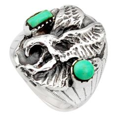 925 silver 1.47cts green arizona mohave turquoise eagle ring size 8.5 c8776