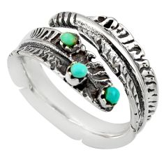 0.28cts green arizona mohave turquoise 925 silver adjustable ring size 7 c8777