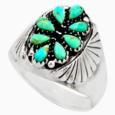 3.30cts green arizona mohave turquoise 925 sterling silver ring size 13.5 c8778