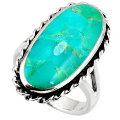 12.62cts green arizona mohave turquoise 925 sterling silver ring size 8 c8782