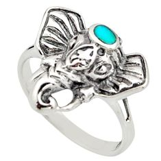 3.48gms green arizona mohave turquoise 925 silver elephant ring size 7 c8783