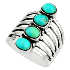 3.48cts green arizona mohave turquoise 925 sterling silver ring size 8 c8786