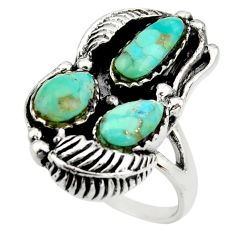 925 sterling silver 12.08cts green arizona mohave turquoise ring size 11.5 c8788