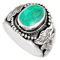 7.89gms green arizona mohave turquoise enamel 925 silver ring size 9.5 c8789