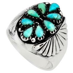 3.21cts green arizona mohave turquoise 925 sterling silver ring size 9 c8791