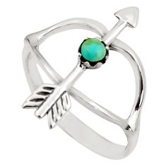 0.37cts green arizona mohave turquoise 925 silver bow charm ring size 7 c8792