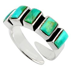 5.36cts green arizona mohave turquoise 925 sterling silver ring size 6 c8793