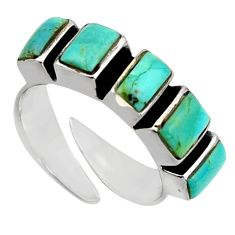 925 silver 5.63cts green arizona mohave turquoise adjustable ring size 6 c8798