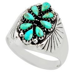 3.70cts green arizona mohave turquoise 925 sterling silver ring size 12.5 c8799
