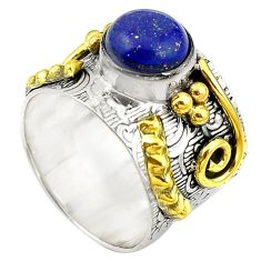 Clearance Sale- Natural blue lapis lazuli 925 silver 14k gold two tone band ring size 8.5 d10723