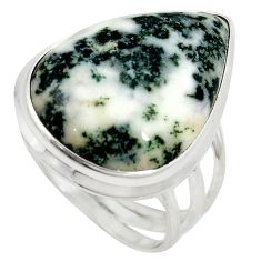 Natural white tree agate 925 sterling silver ring jewelry size 9 d10751