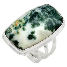 925 sterling silver natural white tree agate ring jewelry size 7 d10753