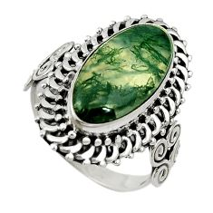 Natural green moss agate 925 sterling silver ring jewelry size 8 d11043