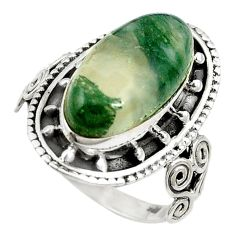 Natural green moss agate 925 sterling silver ring jewelry size 7.5 d11061