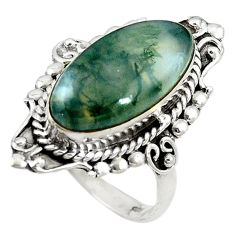 Natural green moss agate 925 sterling silver ring jewelry size 8.5 d11090