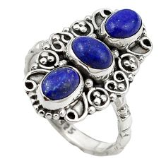 Clearance Sale- Natural blue lapis lazuli 925 sterling silver ring jewelry size 7 d13256