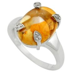 925 silver natural diamond yellow brecciated mookaite ring jewelry size 7 d13380