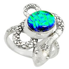 Multi color dichroic glass 925 sterling silver snake ring size 8 d14294