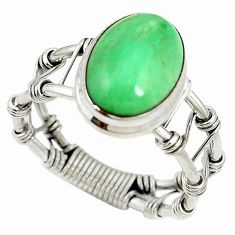 Natural green variscite 925 sterling silver solitaire ring size 9.5 d16923