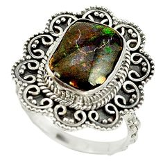925 silver natural multi color ammolite (canadian) ring jewelry size 8 d16964