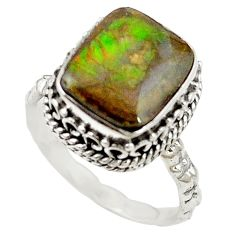 Natural multi color ammolite (canadian) 925 sterling silver ring size 7 d16966