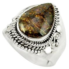 925 silver natural multi color ammolite (canadian) ring jewelry size 8.5 d16969