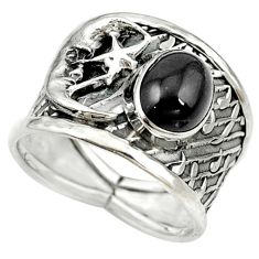 Natural rainbow obsidian eye 925 silver crescent moon star ring size 8.5 d16971