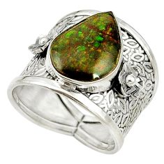 925 sterling silver natural multi color ammolite (canadian) ring size 8 d16973