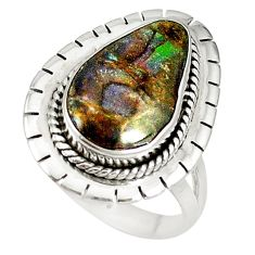 925 silver natural multi color ammolite (canadian) ring jewelry size 8 d16977