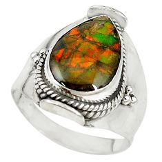 Natural multi color ammolite (canadian) 925 silver ring size 9 d16978