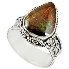 Natural multi color ammolite (canadian) 925 silver ring size 9 d16979