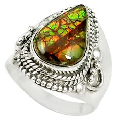 925 silver natural multi color ammolite (canadian) ring jewelry size 8 d16980
