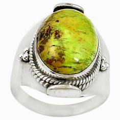 Natural green gaspeite 925 sterling silver solitaire ring jewelry size 9 d17071