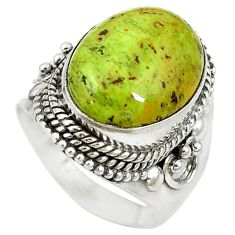 Natural green gaspeite 925 sterling silver solitaire ring size 7 d17075